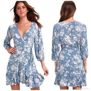 Lulu's Floral Print Ruffle Wrap Dress - NWT